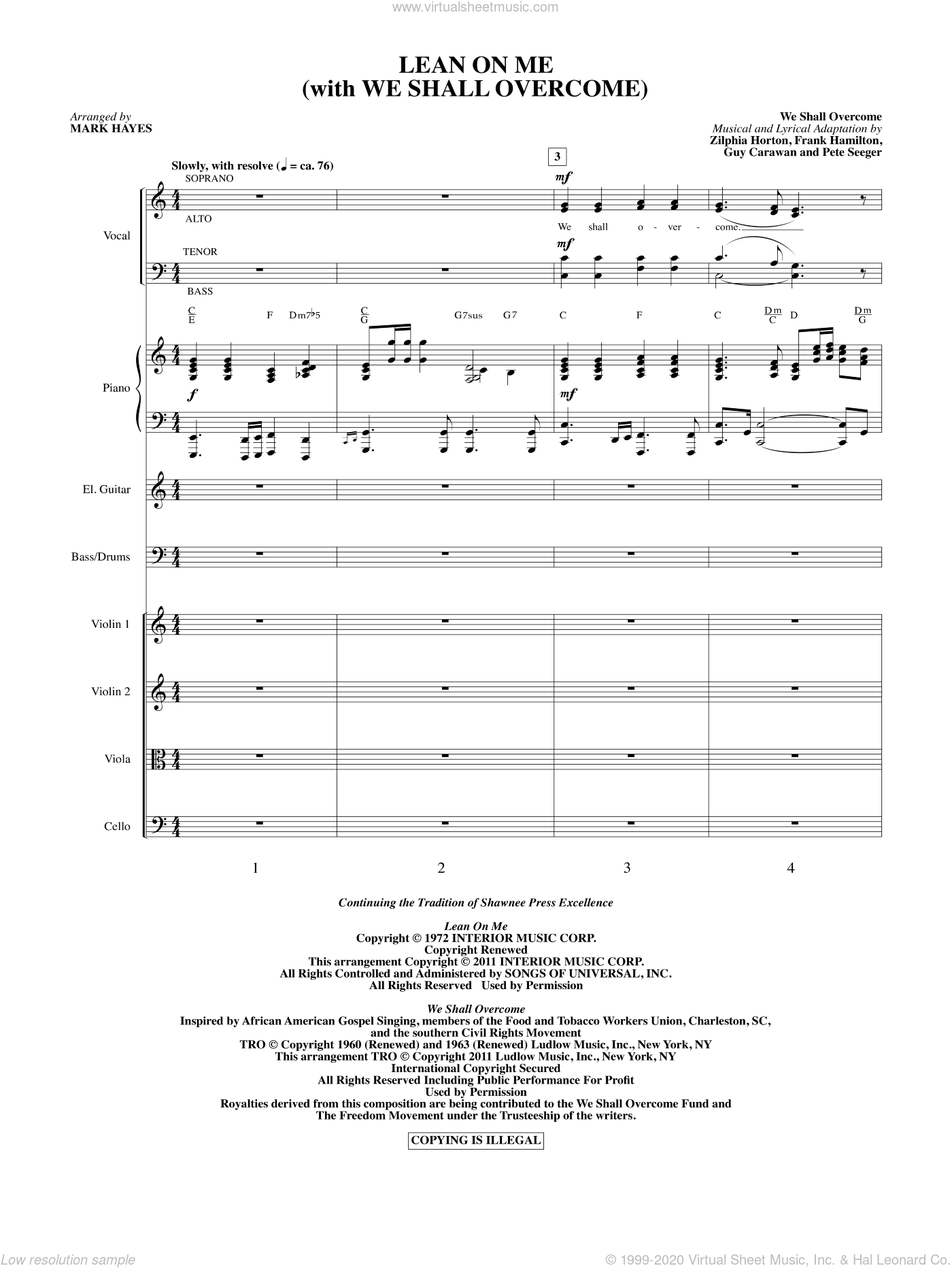 Lean On Me (With We Shall Overcome) sheet music for orchestra/band (full score) by Frank Hamilton