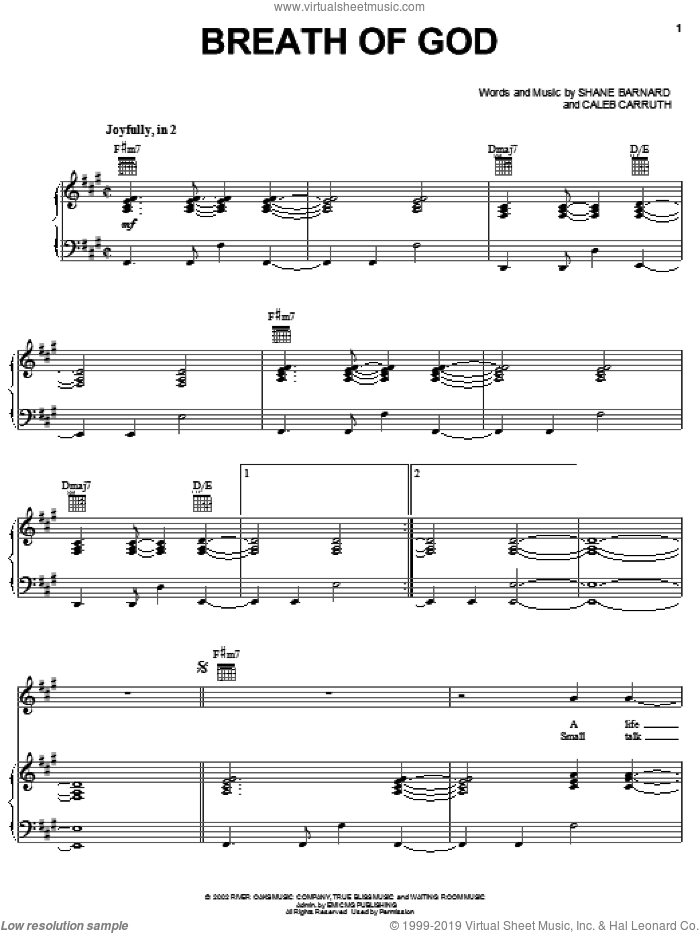 Breath Of God sheet music for voice, piano or guitar by Shane & Shane, Caleb Carruth and Shane Barnard, intermediate skill level