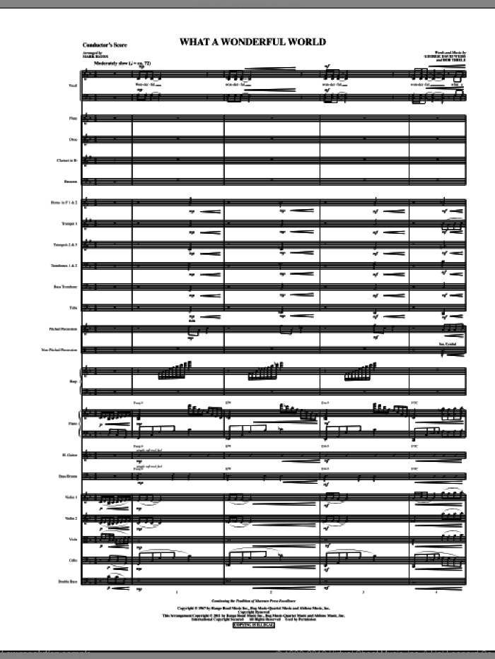 What A Wonderful World (complete set of parts) sheet music for orchestra/band (Orchestra) by Mark Hayes, Bob Thiele, George David Weiss and Louis Armstrong, intermediate skill level