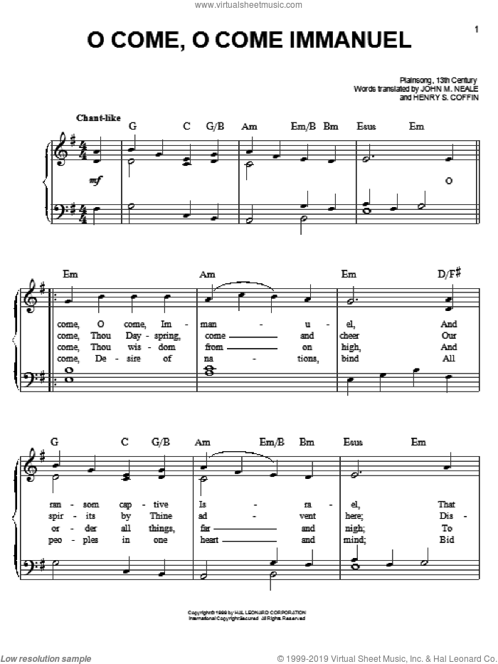 O Come, O Come Immanuel sheet music for piano solo by John Mason Neale and Henry S. Coffin, easy skill level