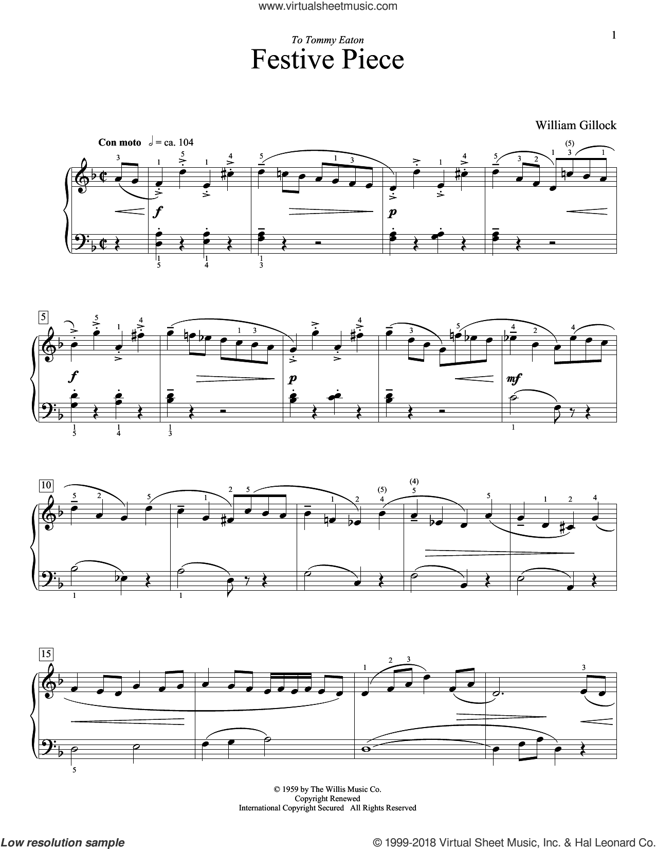 Festive Piece sheet music for piano solo (elementary) by William Gillock, classical score, beginner piano (elementary)