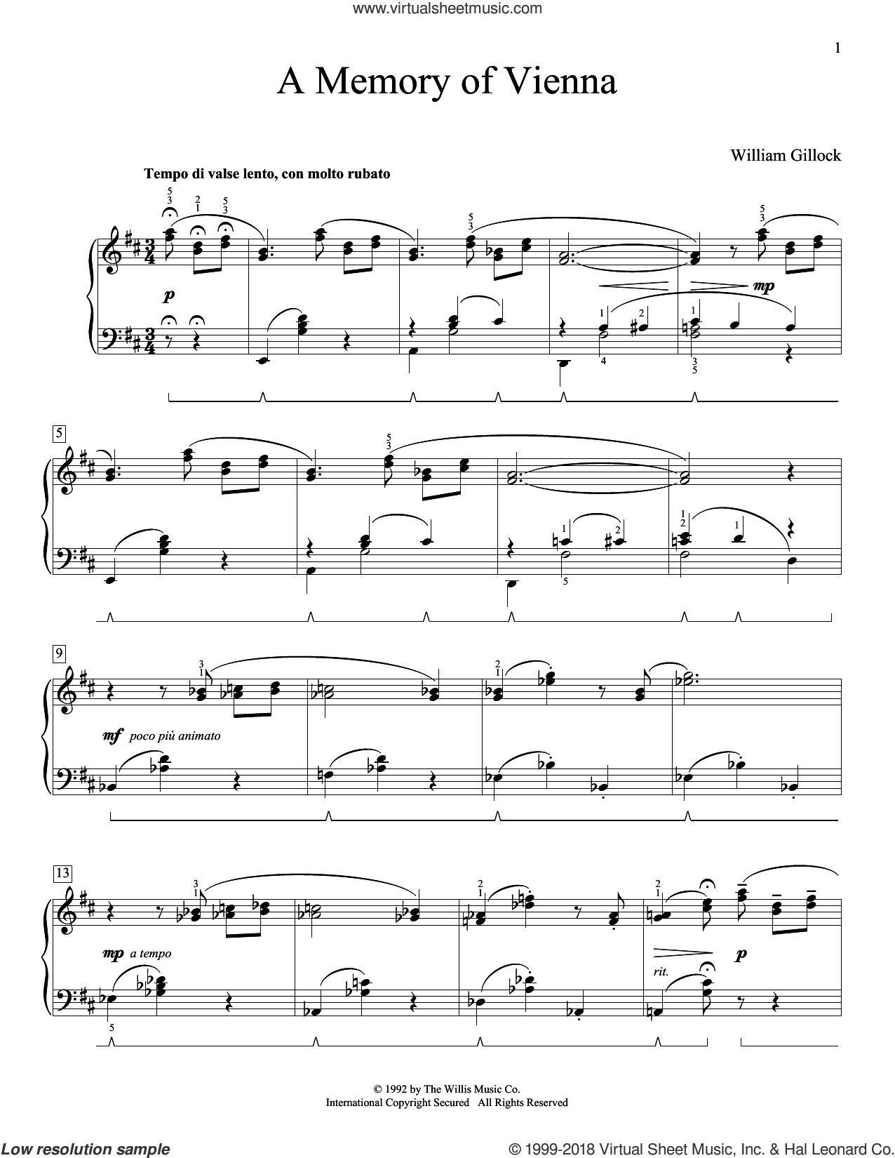 A Memory Of Vienna sheet music for piano solo (elementary) by William Gillock