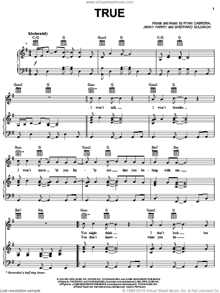 True sheet music for voice, piano or guitar by Sheppard Solomon