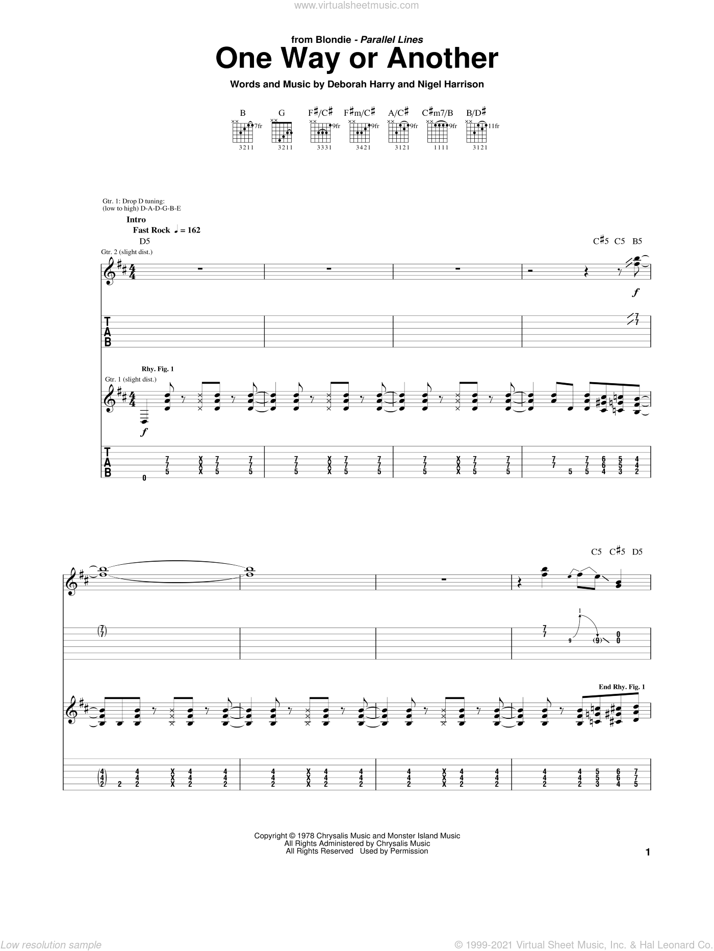 One Way Or Another sheet music for guitar (tablature) by Nigel Harrison, Blondie and Deborah Harry. Score Image Preview.