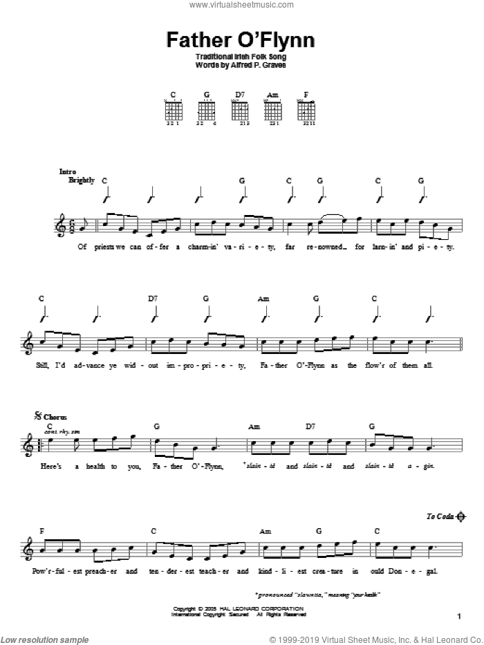 Father O'Flynn sheet music for guitar solo (chords) by Alfred P. Graves and Miscellaneous, easy guitar (chords). Score Image Preview.