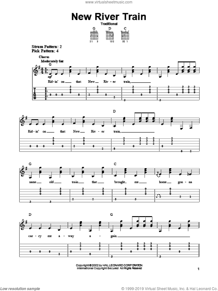 New River Train sheet music for guitar solo, intermediate skill level