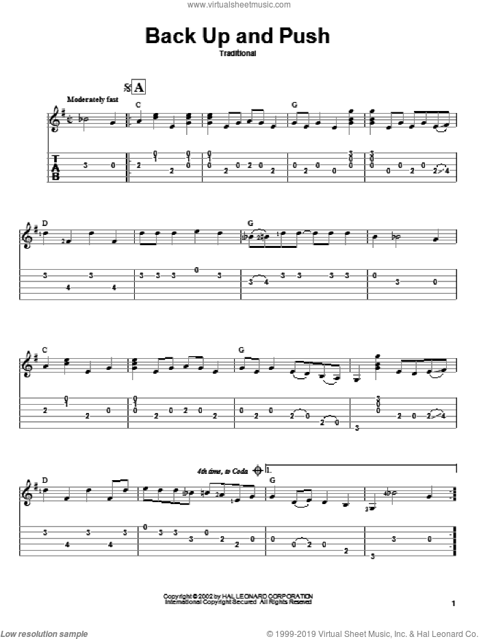 Back Up And Push sheet music for guitar solo. Score Image Preview.