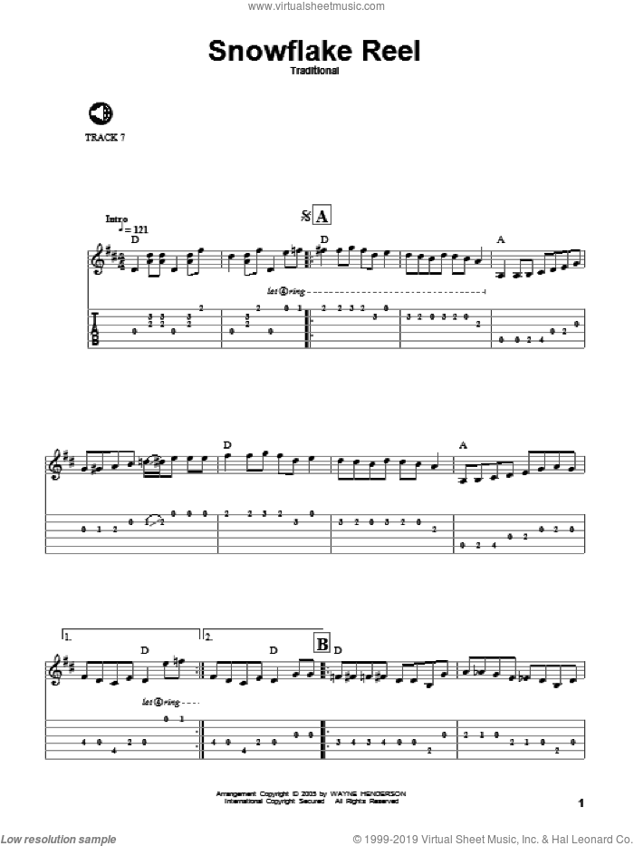 Snowflake Reel sheet music for guitar solo. Score Image Preview.