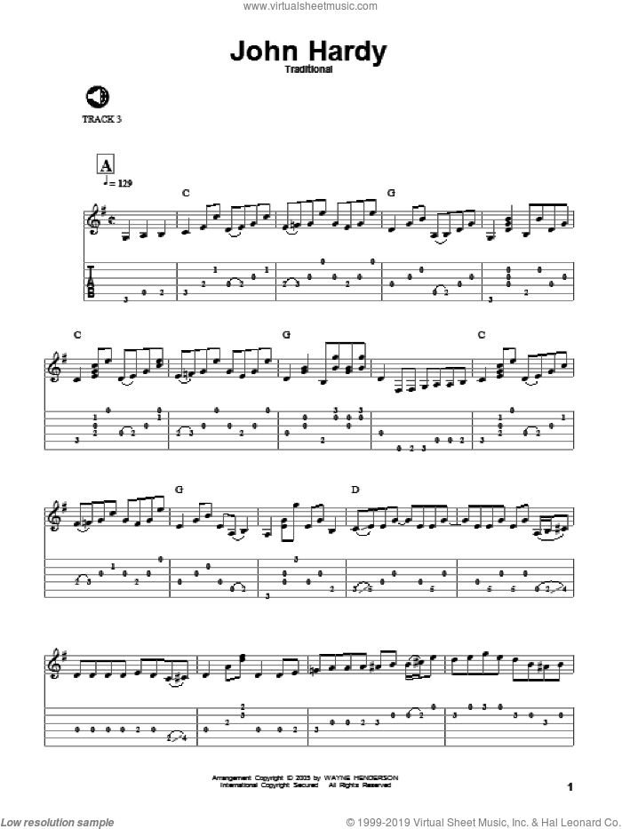 John Hardy sheet music for guitar solo  and Wayne Henderson, intermediate skill level