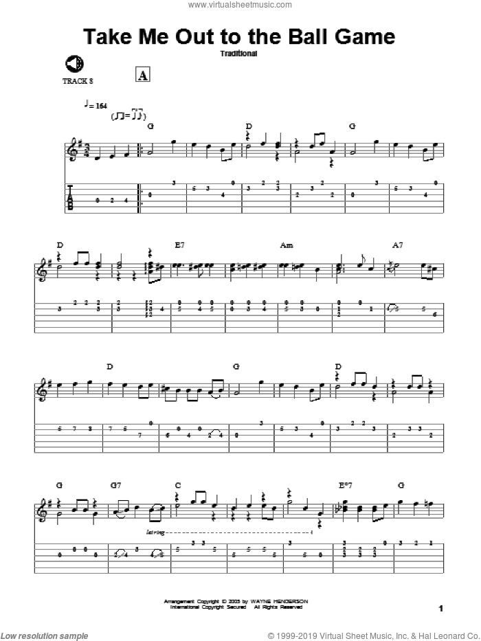 Take Me Out To The Ball Game sheet music for guitar solo by Jack Norworth and Albert von Tilzer. Score Image Preview.