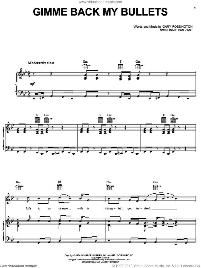 Gimme Back My Bullets sheet music for voice, piano or guitar by Lynyrd Skynyrd, Gary Rossington and Ronnie Van Zant, intermediate. Score Image Preview.