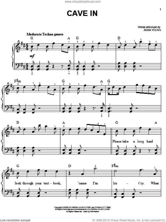 Cave In sheet music for piano solo by Owl City and Adam Young. Score Image Preview.