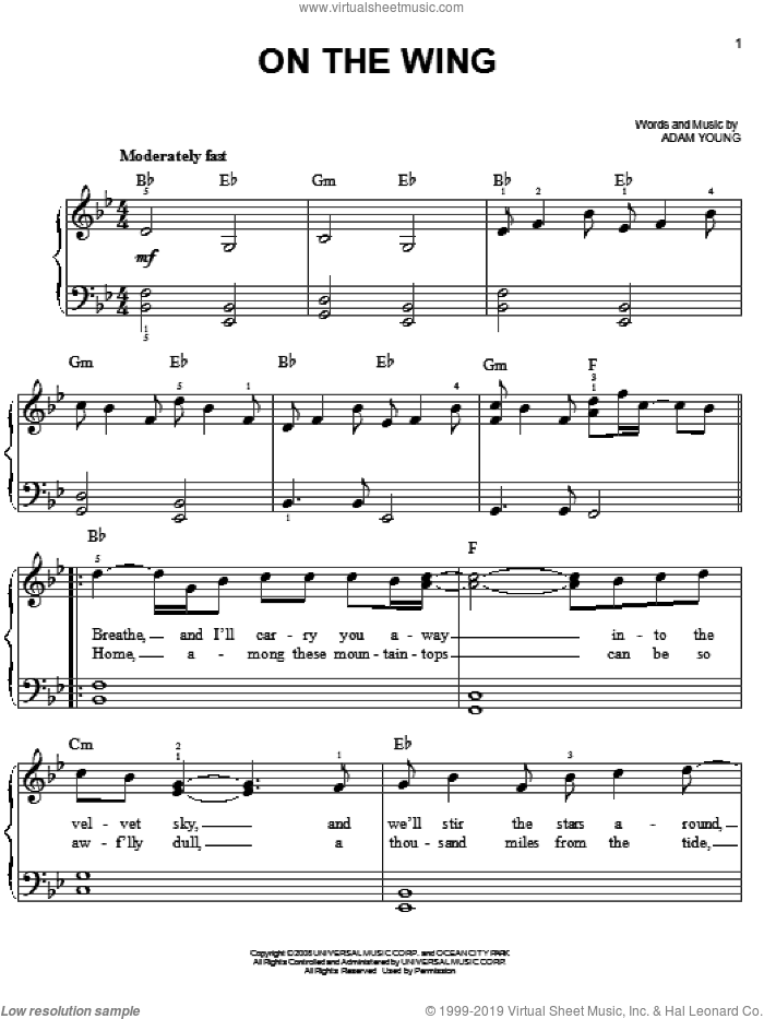 On The Wing sheet music for piano solo (chords) by Adam Young