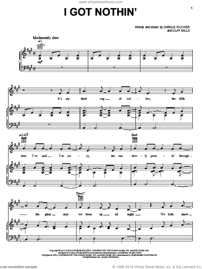 I Got Nothin' sheet music for voice, piano or guitar by Darius Rucker and Clay Mills. Score Image Preview.