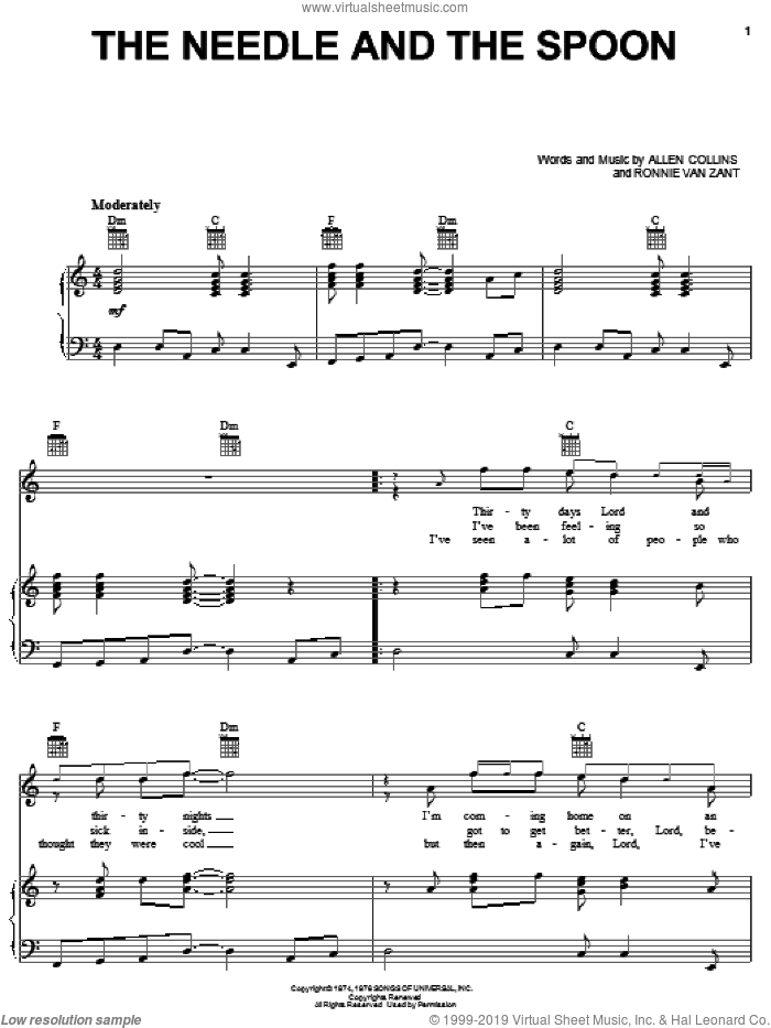 The Needle And The Spoon sheet music for voice, piano or guitar by Ronnie Van Zant, Lynyrd Skynyrd and Allen Collins. Score Image Preview.