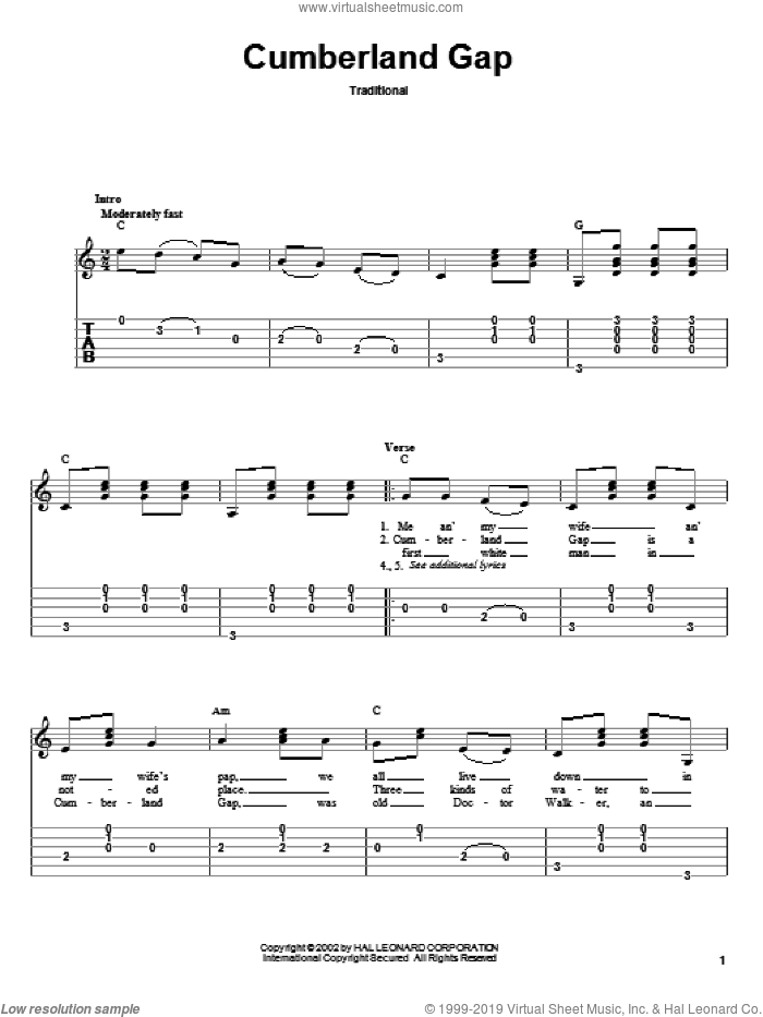 Cumberland Gap sheet music for guitar solo, intermediate. Score Image Preview.