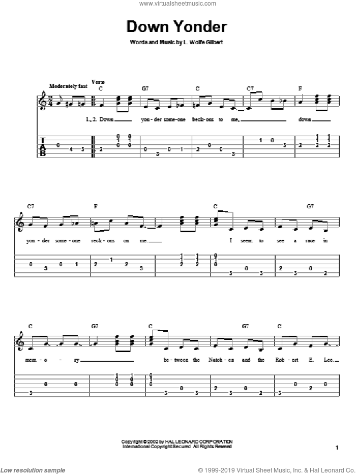 Down Yonder sheet music for guitar solo by L. Wolfe Gilbert. Score Image Preview.
