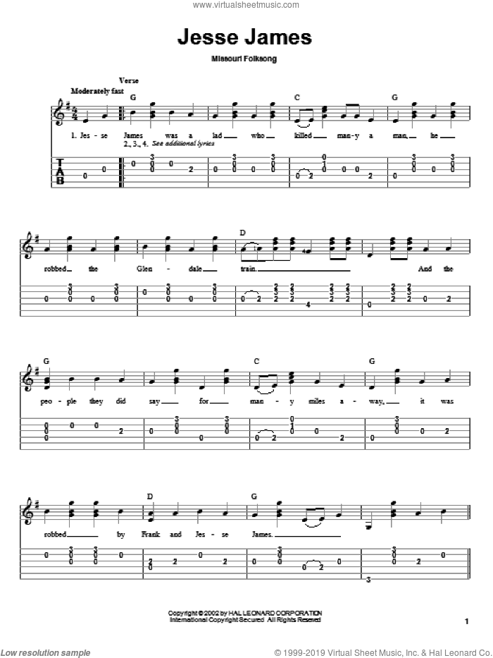 Jesse James sheet music for guitar solo by Missouri Folksong