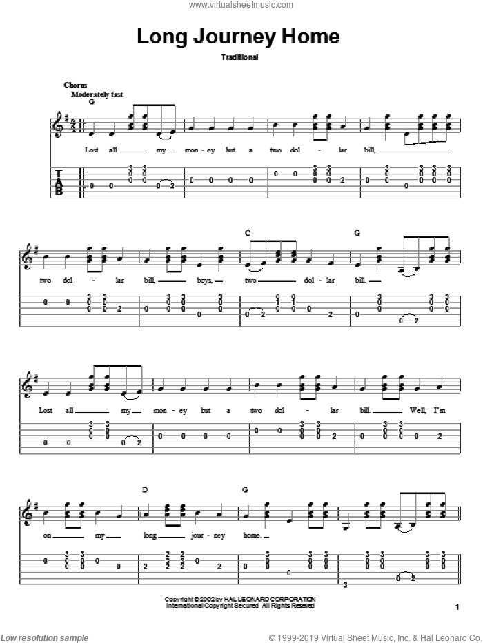 Long Journey Home sheet music for guitar solo. Score Image Preview.