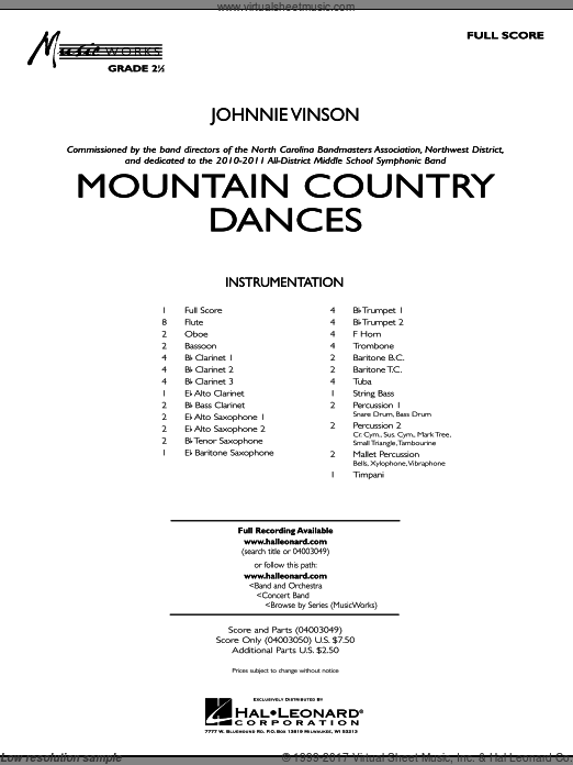 Mountain Country Dances (COMPLETE) sheet music for concert band by Johnnie Vinson