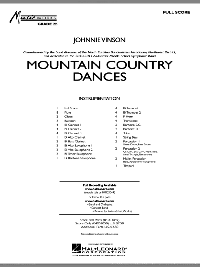 Mountain Country Dances (COMPLETE) sheet music for concert band by Johnnie Vinson, intermediate skill level