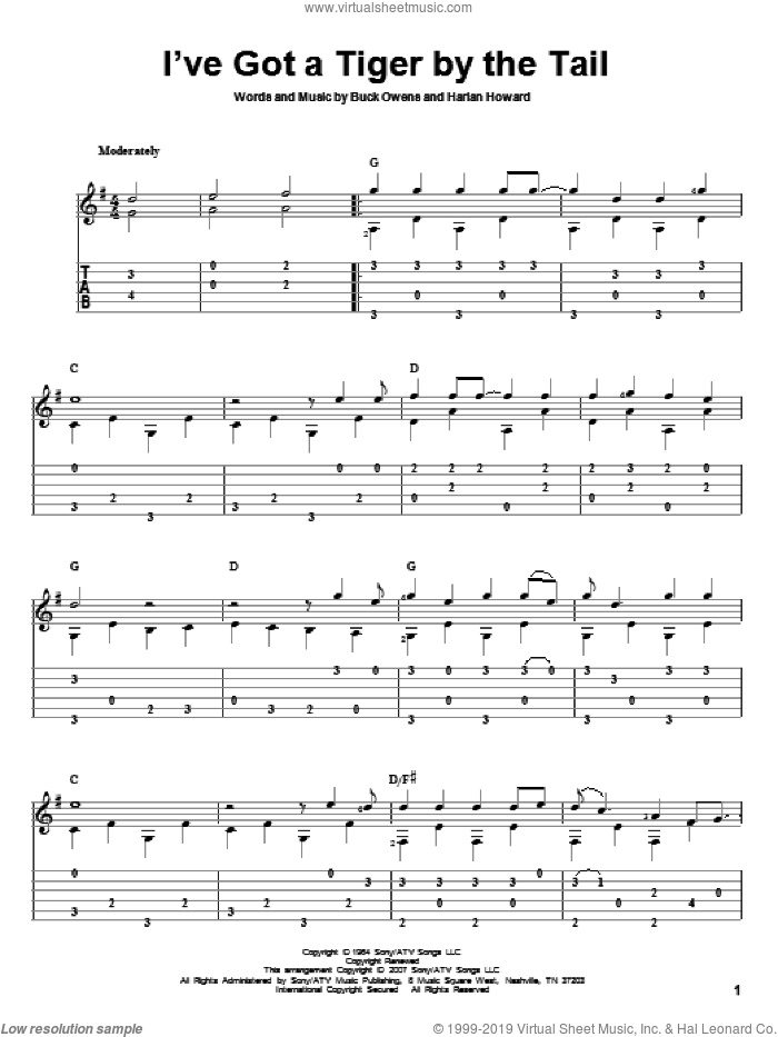 I've Got A Tiger By The Tail sheet music for guitar solo by Harlan Howard