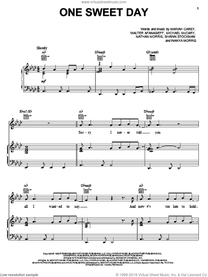 One Sweet Day sheet music for voice, piano or guitar by Nathan Morris, Boyz II Men and Mariah Carey. Score Image Preview.
