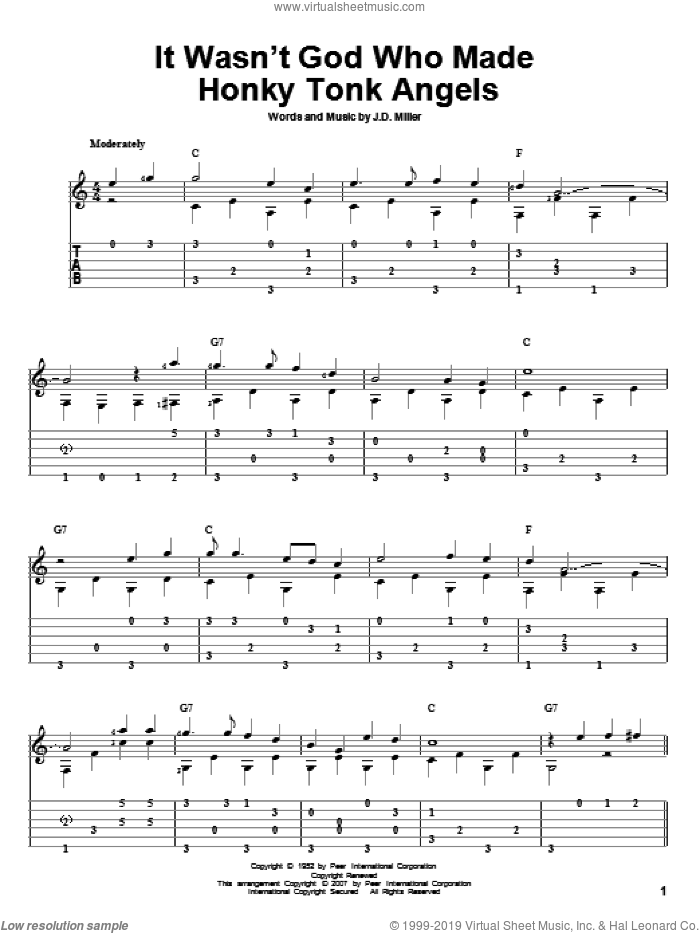 It Wasn't God Who Made Honky Tonk Angels sheet music for guitar solo by Kitty Wells. Score Image Preview.