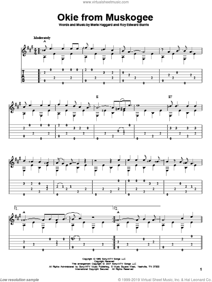 Okie From Muskogee sheet music for guitar solo by Roy Edward Burris