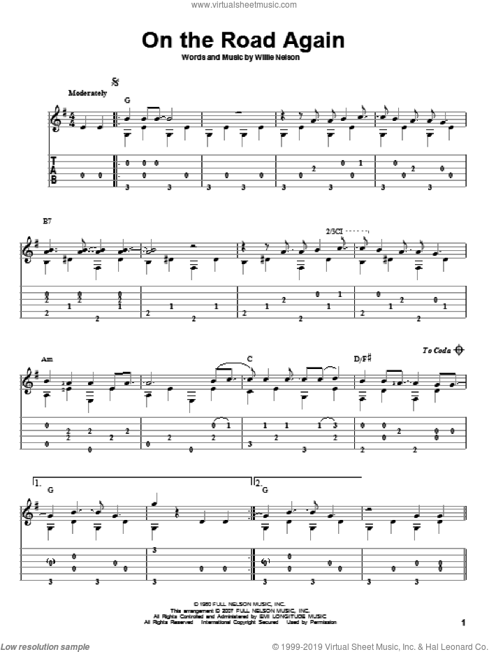 On The Road Again sheet music for guitar solo by Willie Nelson. Score Image Preview.