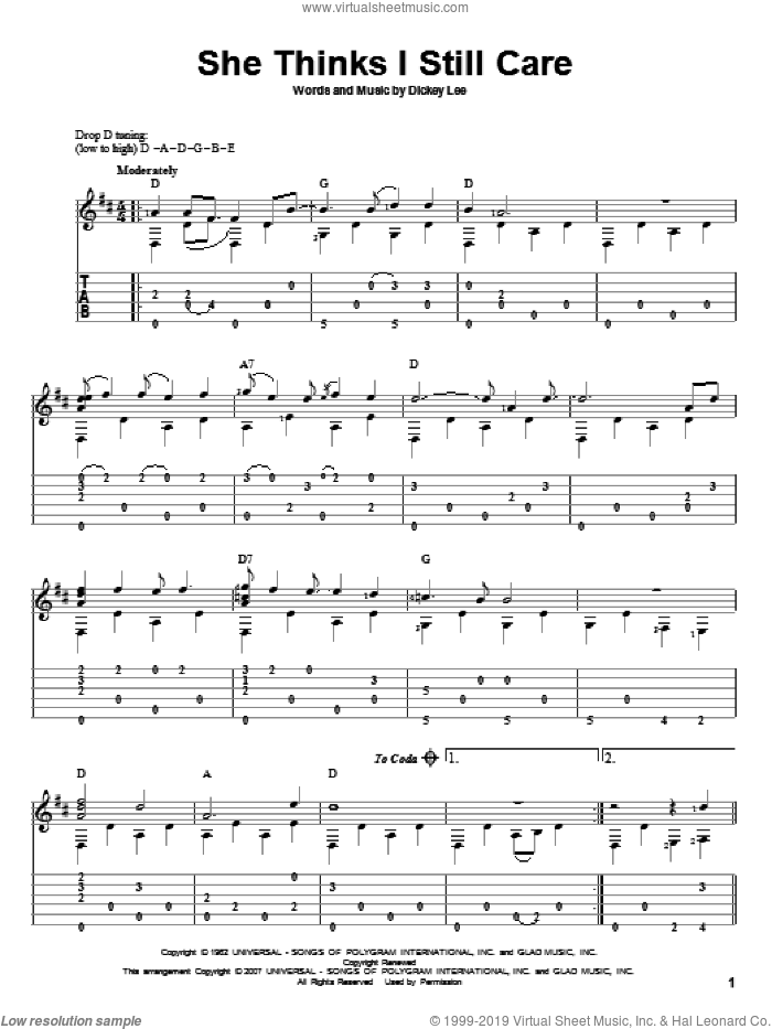 She Thinks I Still Care sheet music for guitar solo by Dickey Lee