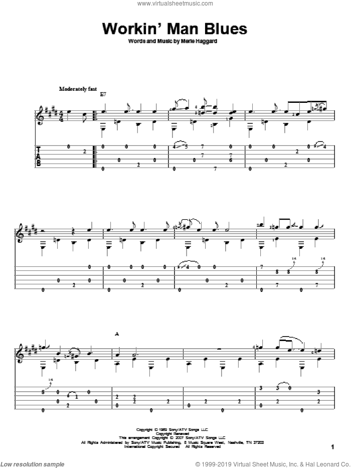 Workin' Man Blues sheet music for guitar solo by Merle Haggard