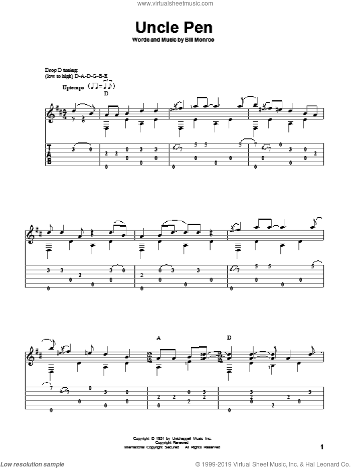 Uncle Pen sheet music for guitar solo by Bill Monroe, David Hamburger and Ricky Skaggs, intermediate skill level