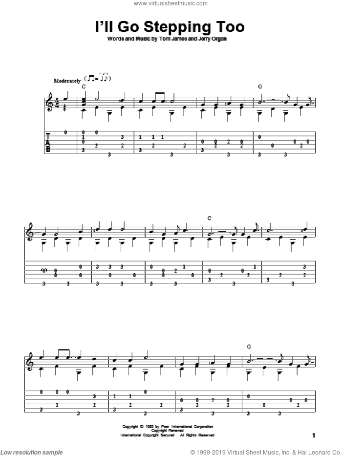 I'll Go Stepping Too sheet music for guitar solo by Tommy James and Flatt & Scruggs. Score Image Preview.