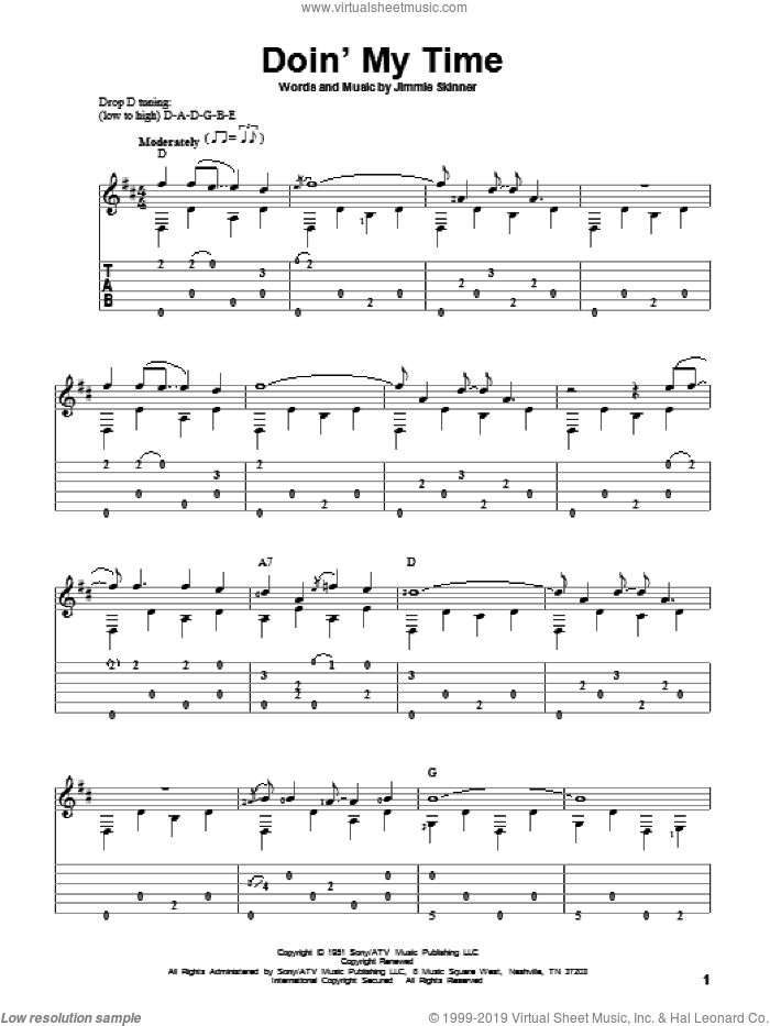 Doin' My Time sheet music for guitar solo by Jimmie Skinner and Johnny Cash. Score Image Preview.
