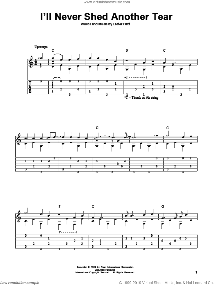 I'll Never Shed Another Tear sheet music for guitar solo by Lester Flatt. Score Image Preview.
