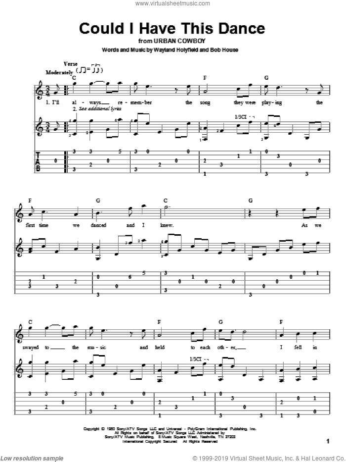 Could I Have This Dance sheet music for guitar solo by Anne Murray, Bob House and Wayland Holyfield, wedding score, intermediate. Score Image Preview.