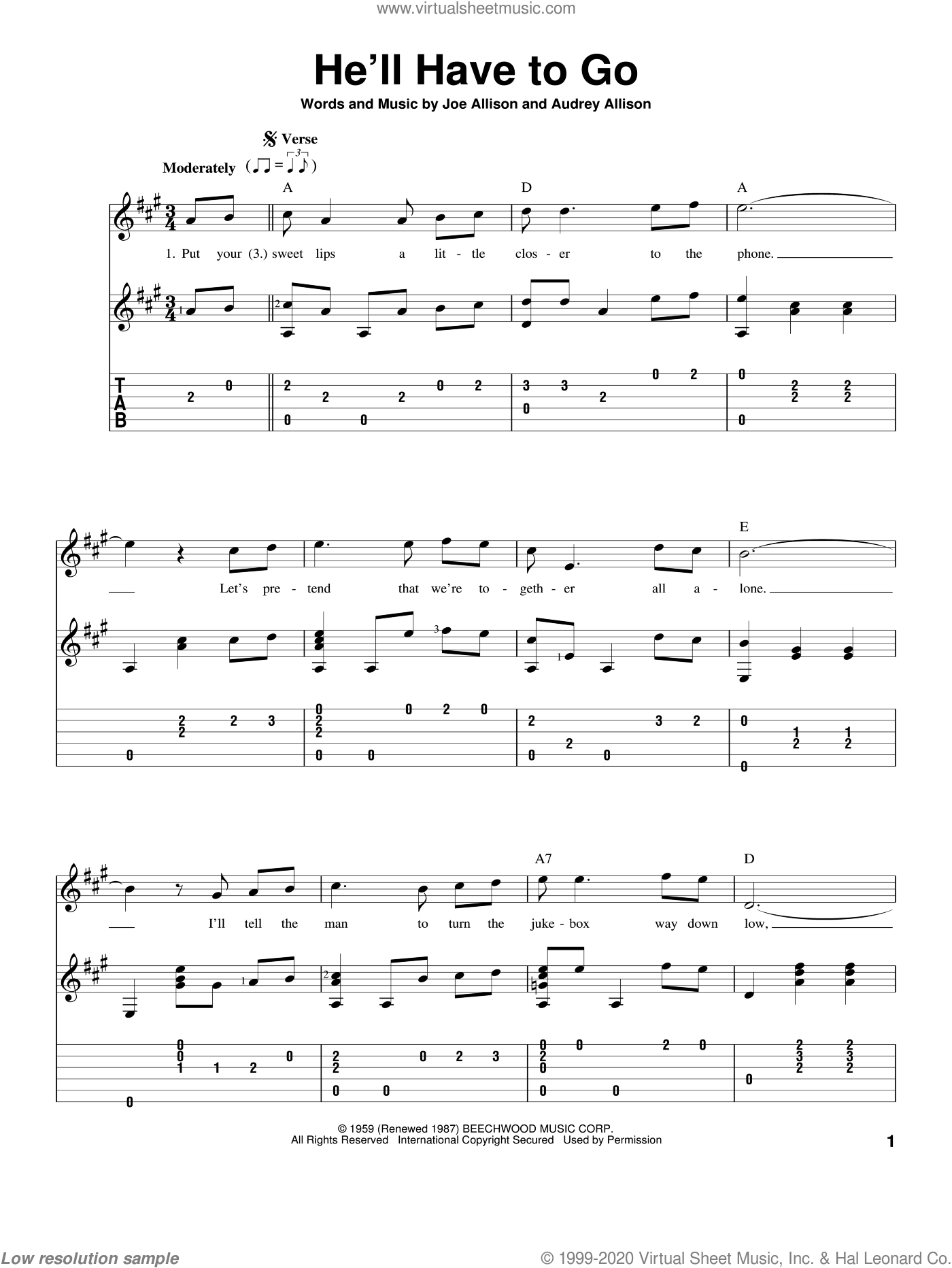 He'll Have To Go sheet music for guitar solo by Joe Allison. Score Image Preview.