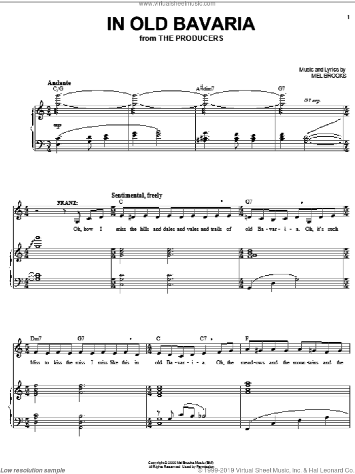 In Old Bavaria sheet music for voice and piano by Mel Brooks and The Producers (Musical), intermediate skill level