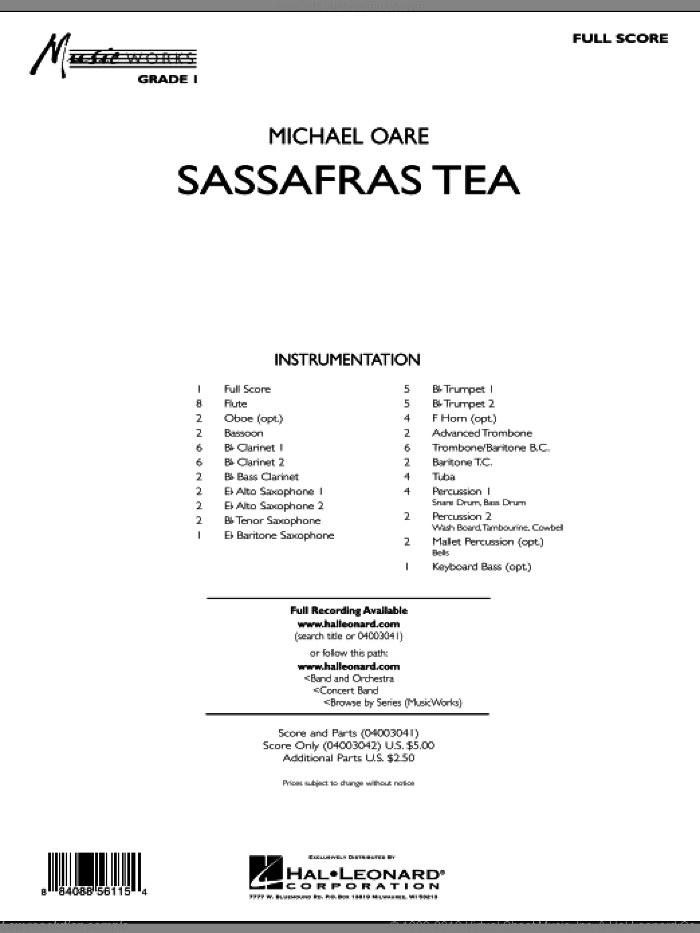 Sassafras Tea (Cajun Two-Step) (COMPLETE) sheet music for concert band by Michael Oare, intermediate concert band. Score Image Preview.