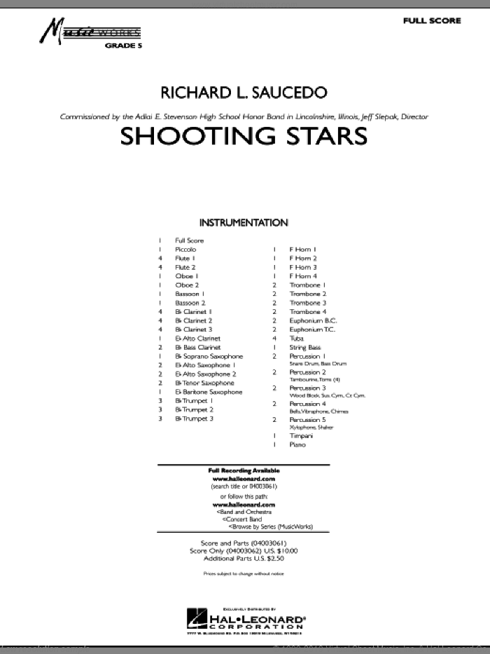 Shooting Stars (COMPLETE) sheet music for concert band by Richard L. Saucedo, intermediate. Score Image Preview.