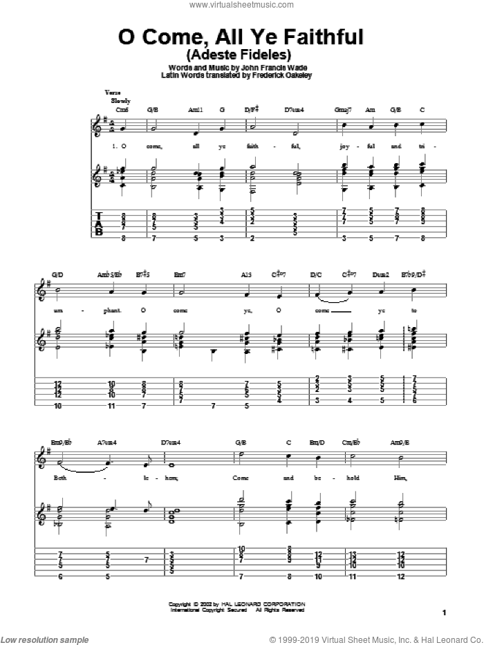 O Come, All Ye Faithful (Adeste Fideles) sheet music for guitar solo by John Francis Wade and Frederick Oakeley, intermediate skill level