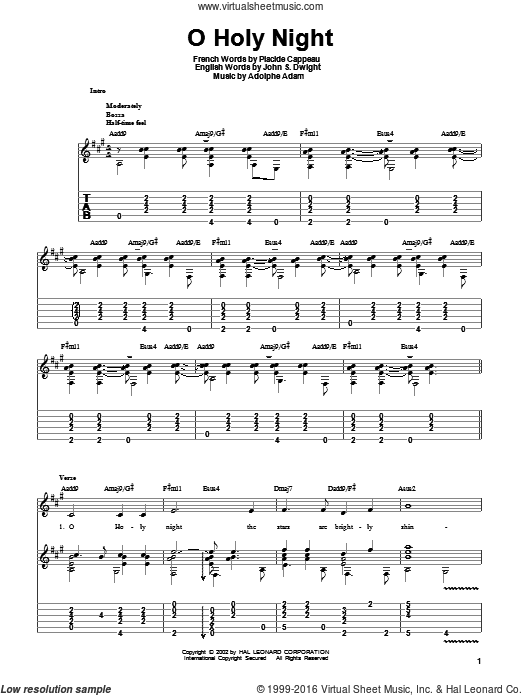 O Holy Night sheet music for guitar solo by Placide Cappeau
