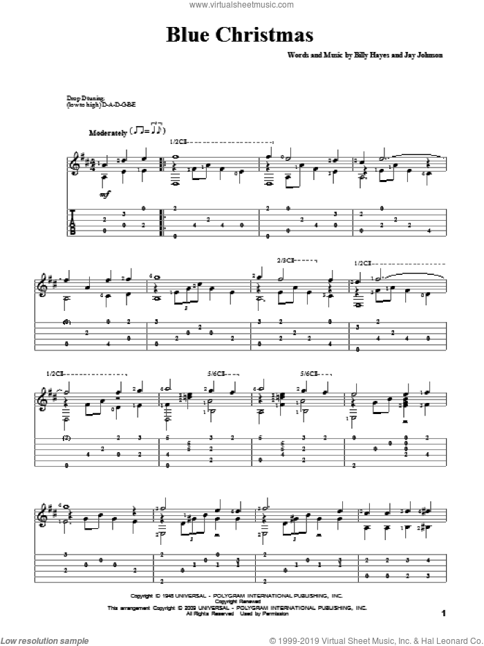 Blue Christmas sheet music for guitar solo by Elvis Presley, Billy Hayes and Jay Johnson, intermediate skill level