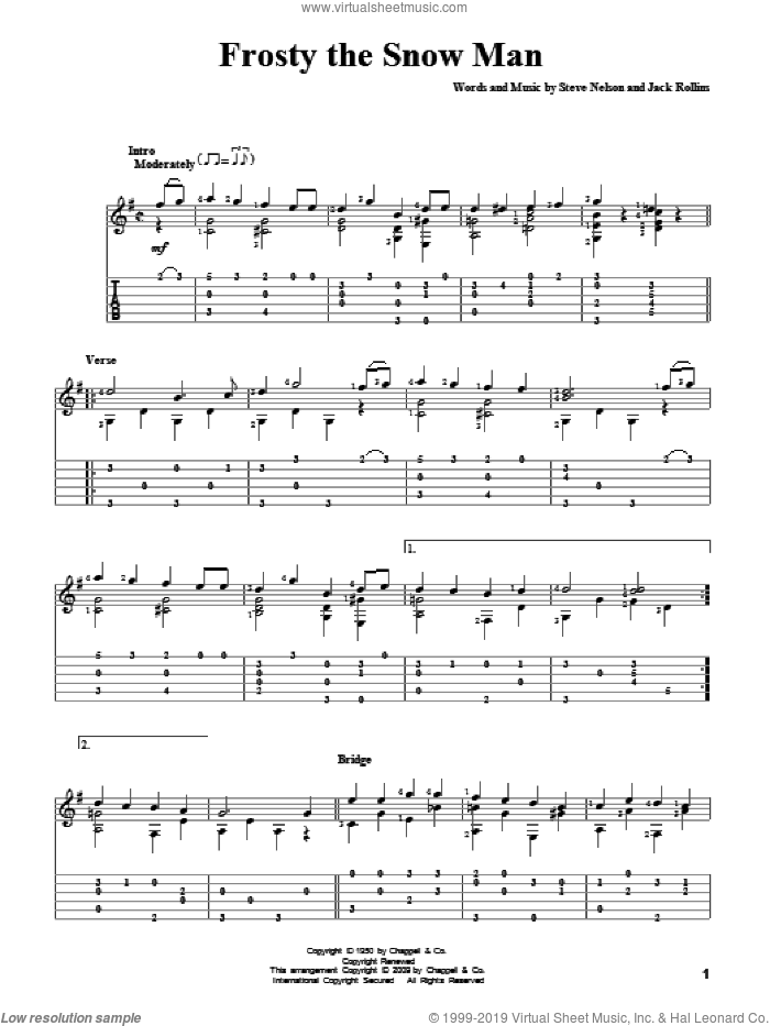 Frosty The Snow Man sheet music for guitar solo by Steve Nelson, Gene Autry and Jack Rollins. Score Image Preview.