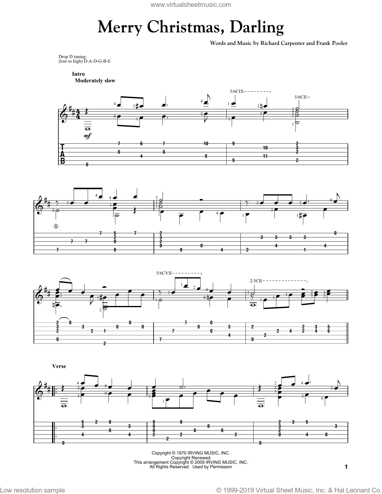 Merry Christmas, Darling sheet music for guitar solo by Richard Carpenter, Carpenters and Frank Pooler. Score Image Preview.