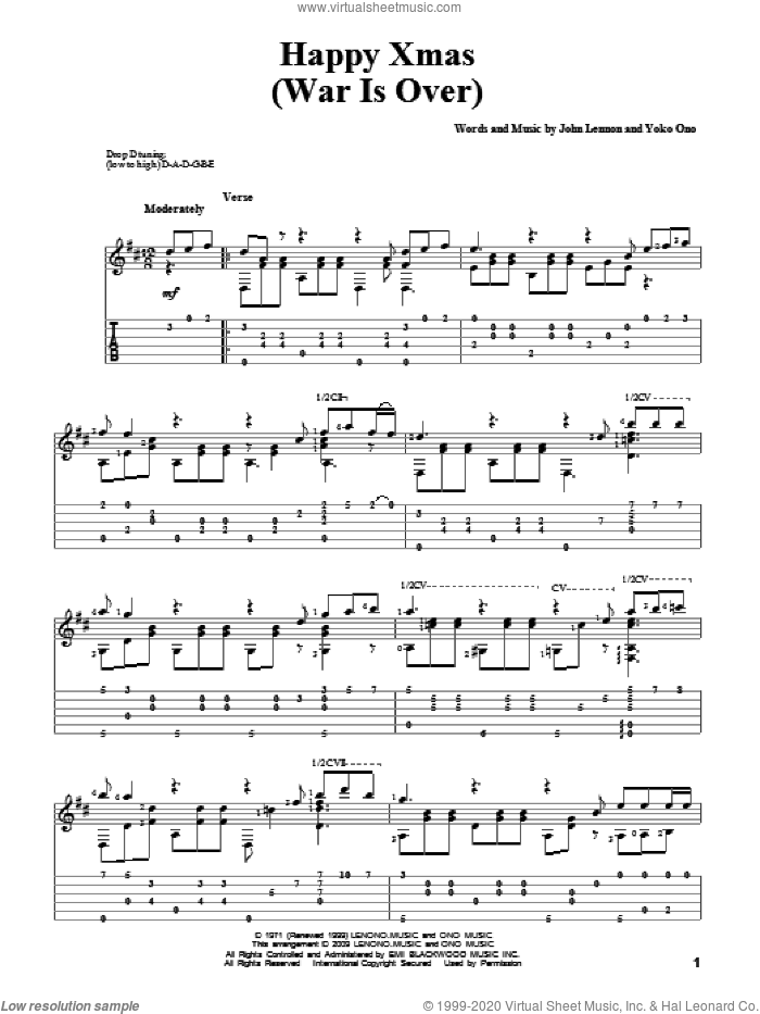 Happy Xmas (War Is Over) sheet music for guitar solo by John Lennon and Yoko Ono, intermediate. Score Image Preview.