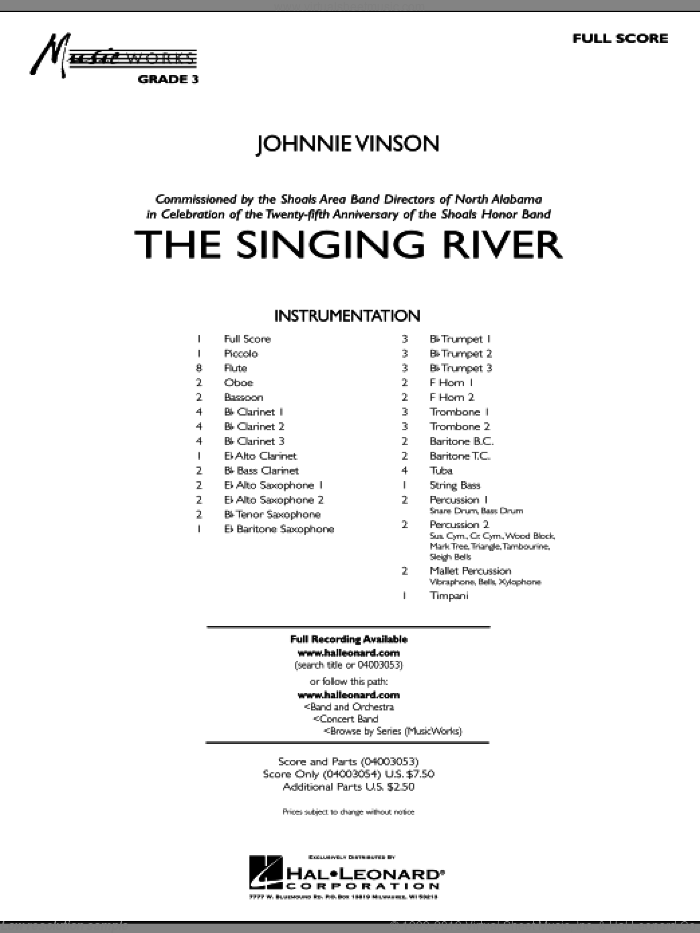 The Singing River sheet music for concert band (full score) by Johnnie Vinson