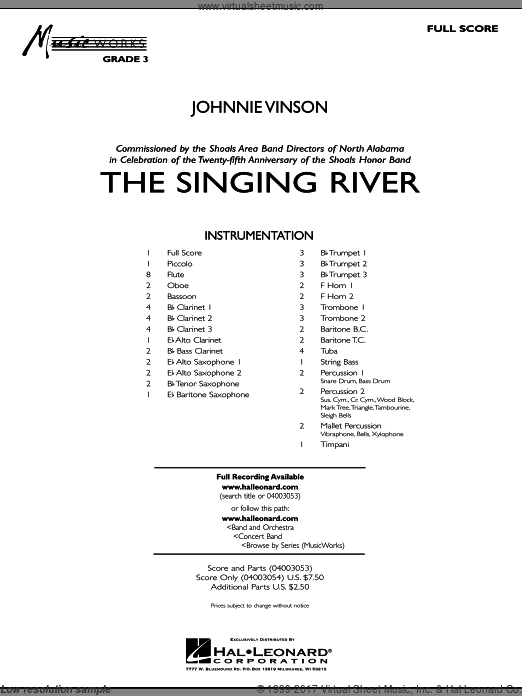 The Singing River (COMPLETE) sheet music for concert band by Johnnie Vinson