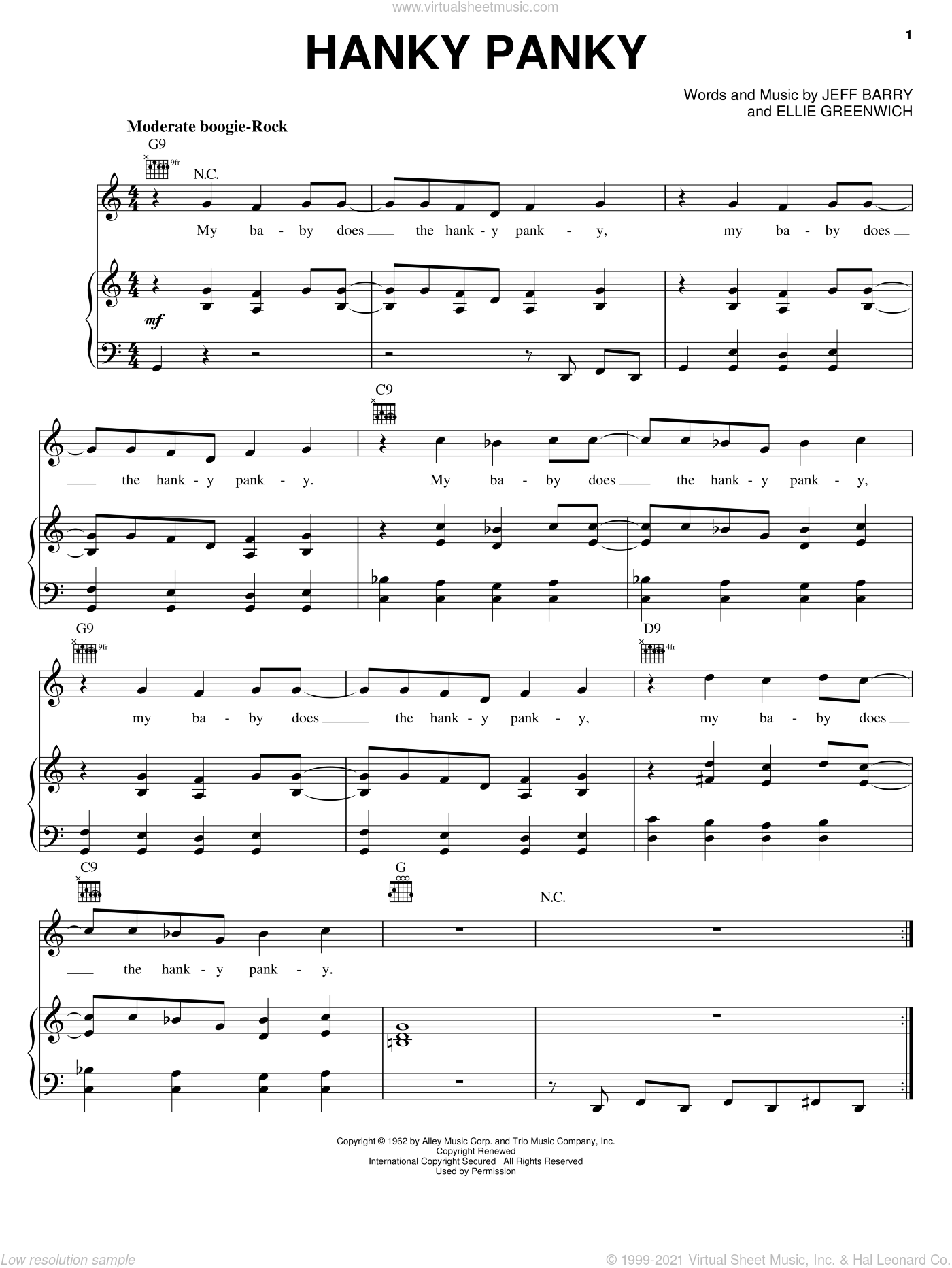 Hanky Panky sheet music for voice, piano or guitar by Tommy James & The Shondells, Ellie Greenwich and Jeff Barry. Score Image Preview.